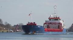 Tanker Kiel Canal Holtenau 1 Stock Footage
