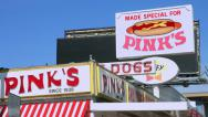 Stock Video Footage of 4K, UHD, Pink's Hot Dogs Landmark Restaurant in Los Angeles, California
