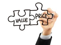Stock Illustration of value and price written by 3d hand