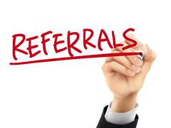 Referrals written by 3d hand Stock Illustration
