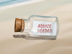 Stock Illustration of advice needed message in a bottle