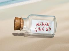 Never give up message in a bottle Stock Illustration