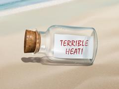 terrible heat message in a bottle - stock illustration