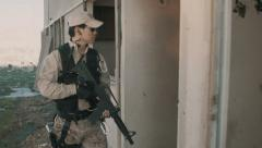 Soldier Patrolling Abandoned Building Stock Footage