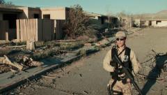 Soldier Patrolling Neigborhood (Multiple Jib shots) Stock Footage