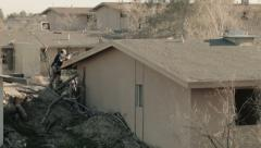 Soldier Climbing on Roof Stock Footage