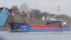 Tanker crossing in Kiel Canal Stock Footage