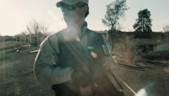 Soldier Patrolling Rooftop 2 Stock Footage
