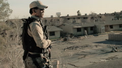 Soldier Patrolling Rooftop 3 Stock Footage