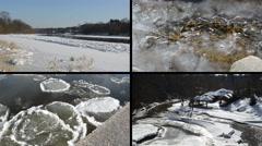 Ice floe floating on river water in winter season beautiful tale Stock Footage