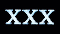 liquid fills xxx . blue on black + version with alpha channel . 4K - stock footage