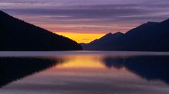 Sunset on wilderness lake 1 Stock Footage