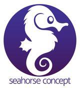 Seahorse circle concept - stock illustration