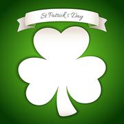 Fresh St Patricks Day Poster with Paper Clover - stock illustration