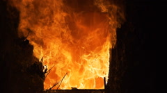 Window engulfed in flames Stock Footage