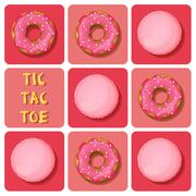 Tic-Tac-Toe of macaron and donut - stock illustration