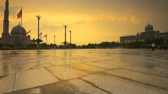 Beautiful Sunset At Putra Mosque Square, Pan Left Stock Footage