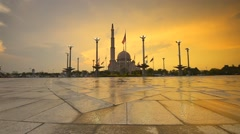 Beautiful Sunset At Putra Mosque Square, Zoom In Stock Footage