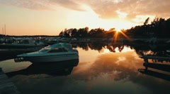 timelaps port baltika sunset - stock footage