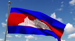 Cambodia flag Stock Footage