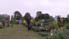 Farmer merchant woman sell fruit tree plants in botanical fair Stock Footage