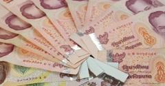 4k rotating thailand Baht money. Stock Footage