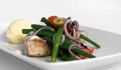 Grilled Tuna Steak with Vegetables Stock Photos