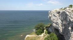 view from a cliff on Gotland - stock footage