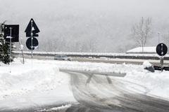 Motorway Snow - stock photo