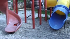 Destroyed objects at the children playground - stock footage