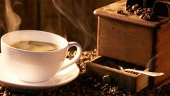 Freshly roasted and brewed coffee - stock footage