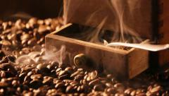 Stock Video Footage of Coffee grinder with slow releasing the aroma of coffee beans