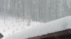 Strong snow comes on the background of Christmas trees and wooden house - stock footage