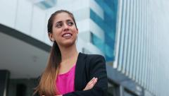 Portrait Confident Business Woman Looking Copy Space - stock footage