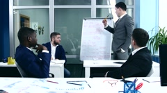 Business Coach on the flip chart shows  audience information Stock Footage