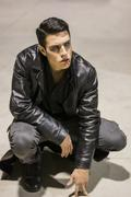 Young Vampire Man with Black Leather Jacket Stock Photos