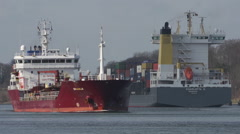 Tanker and Container crossing in Kiel Canal Stock Footage