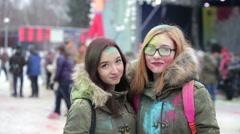 MOSCOW, RUSSIA - FEB 14: Celebration of winter Holi colors festival, February 14 Stock Footage