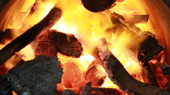 Fire burning firewood in big kiln Stock Footage