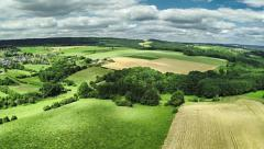 Aerial view of summer countryside Stock Footage