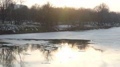 Pond with the arrival of spring, a day in winter Stock Footage