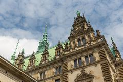 Detail of the facade of the famous Rathaus (City Hall) in Hamburg, Germany Stock Photos