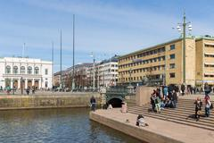 Goteborg - APRIL 26: View of Gustof Adolf's square near the big Harbor Canal  Stock Photos