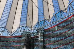 BERLIN, GERMANY - JULY 24: Potsdamer platz, futuristic roof dome of Sony Cent - stock photo
