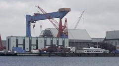 Submarine at Dockyard Kiel Germany 2 Stock Footage