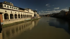 A view along the river Arno in Florence - stock footage