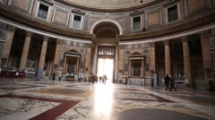 The interior of the Pantheon in Rome, Italy Stock Footage