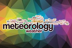 Meteorology word cloud with abstract background Stock Illustration