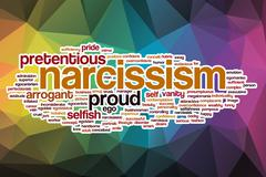 Narcissism word cloud with abstract background - stock illustration