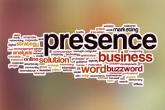 Presence word cloud with abstract background Stock Illustration